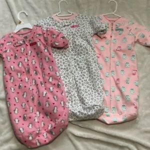 Fleece baby girl sleep sacks